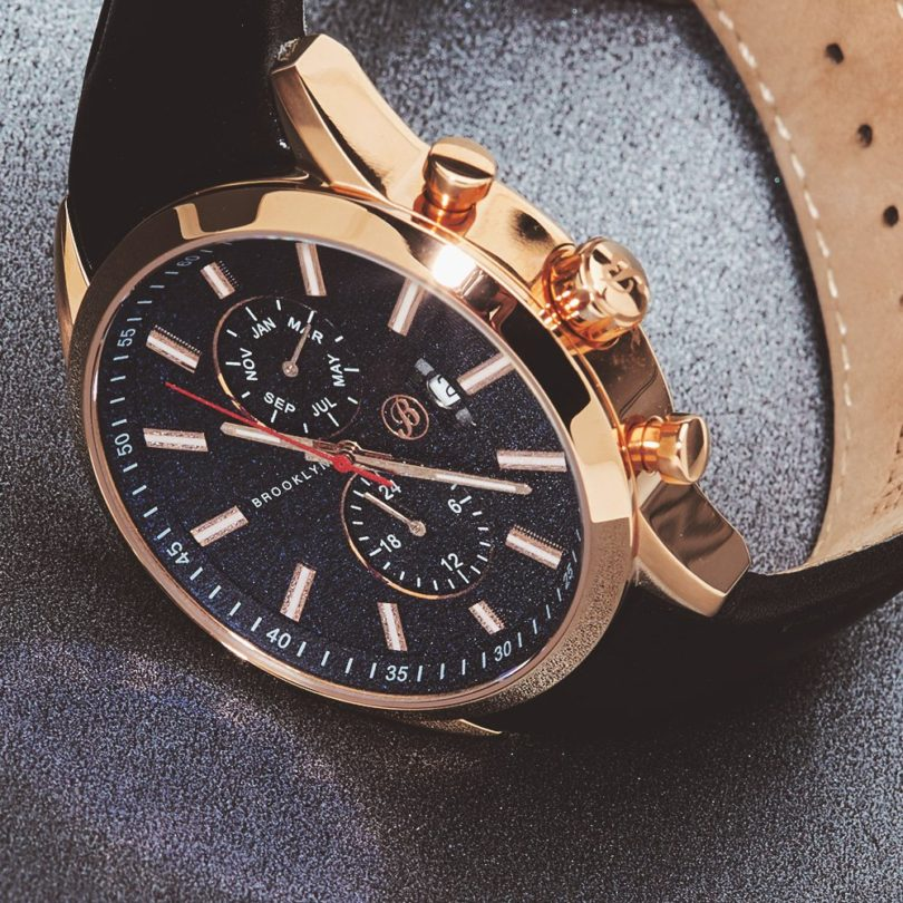 Brooklyn Fulton Black Dial Black Leather Swiss Quartz Watch FL-RG-BK-BK
