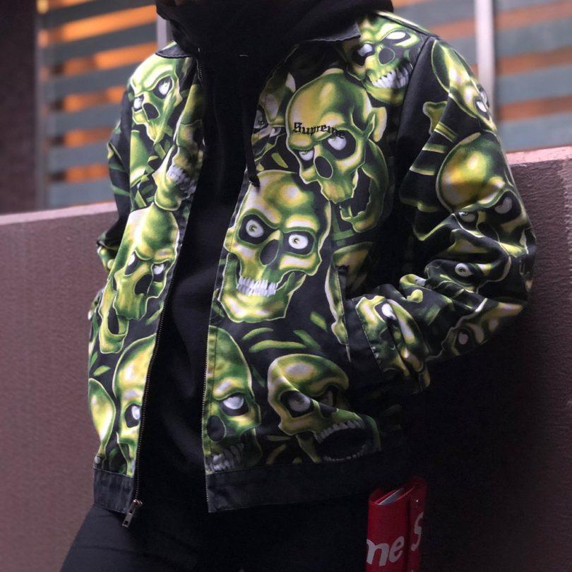 Supreme Skull Pile Leather Bomber Jacket Green