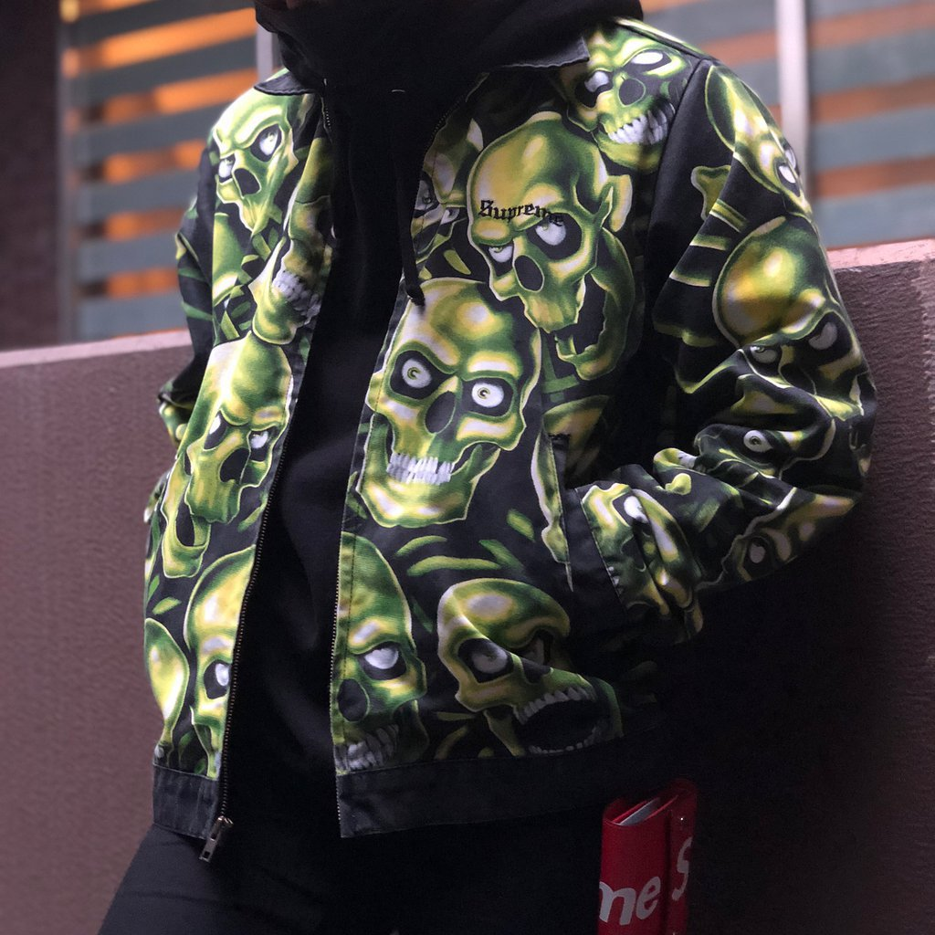 Supreme Skull Pile Leather Bomber Jacket Green 187 Petagadget