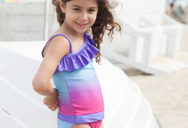Fuchsia Turq Ombré One-Shoulder Swimsuit with Ruffle