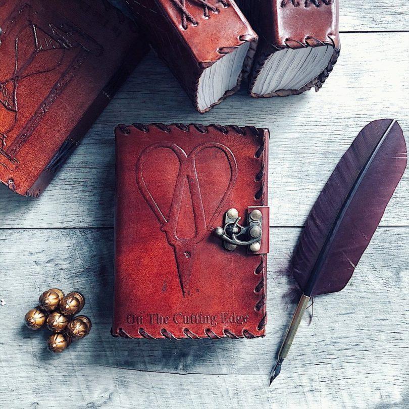 On The Cutting Edge Scissors Mini Leather Journal