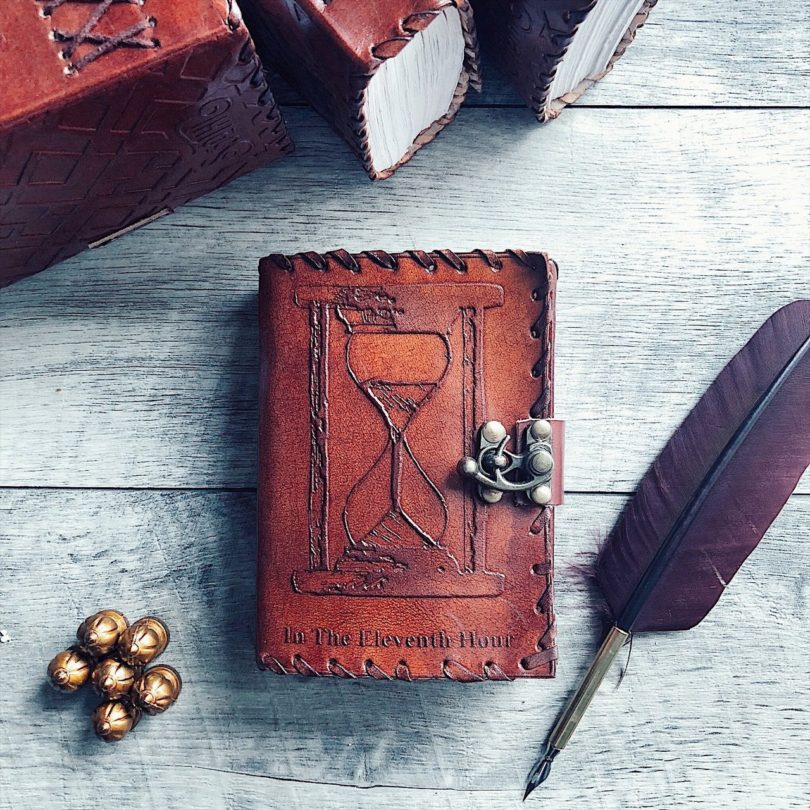 In The Eleventh Hour Hourglass Mini Leather Journal