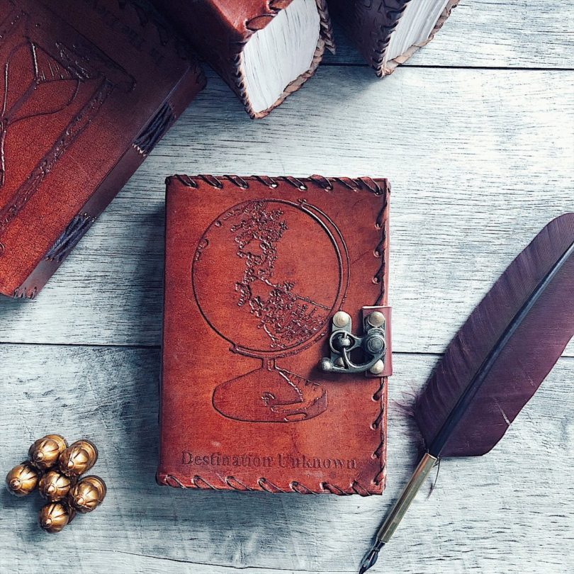 Destination Unknown Globe Mini Leather Journal