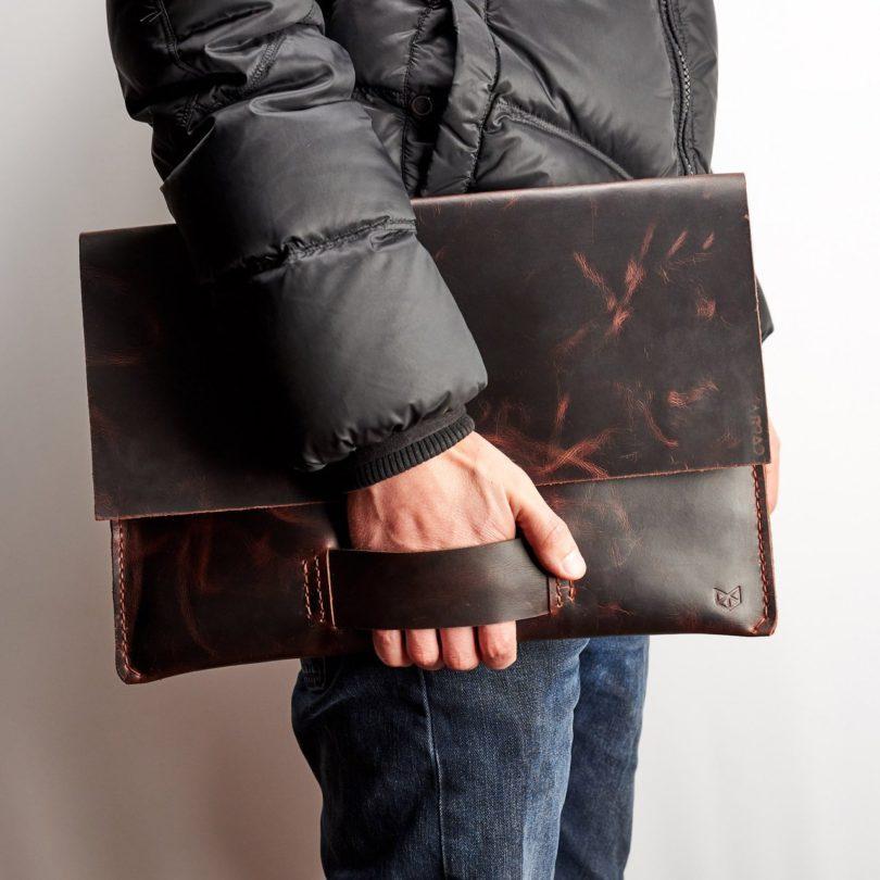 Cognac Leather Walker Macbook Case