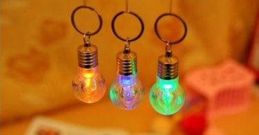 Bulb Shaped Color Changing Flashlight Novelty Keychain
