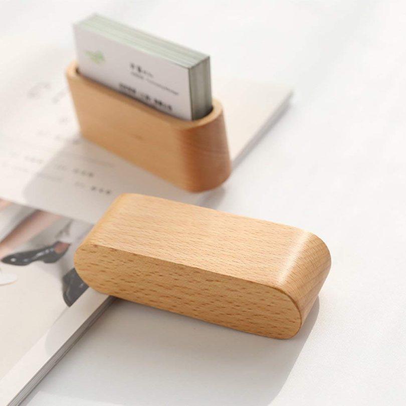 JINMURY Wooden Business Card Display Holder