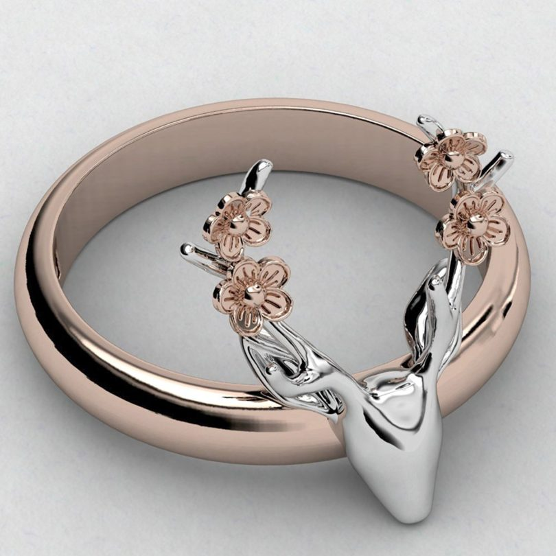 EVBEA Deer Antler Ring Vintage Cute Big Statement Two Tone Flower Gold Roe Rings for Women