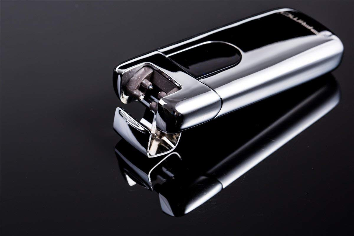 USB Electric Lighters Plasma Beam Arc Lighter Slim Portable Cigarette Lighter Silver
