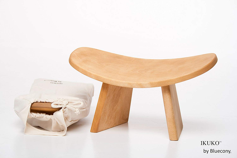 IKUKO by Bluecony Original – Travel Version – Wooden Kneeling Ergonomic Meditation Bench (Natural Wood) wth cotton bag