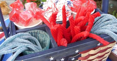 Americana Patriotic Party Table Top Decorative Basket