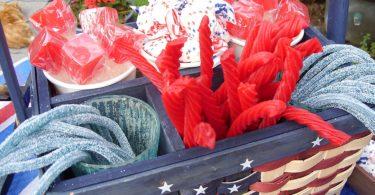 Americana Patriotic Party Table Top Decorative Basket