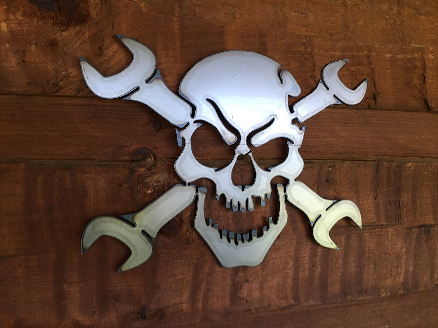 Gear Head Skull And Wrenches Metal Wall Art 187 Petagadget