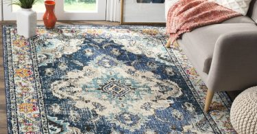 Safavieh Monaco Collection MNC243N Vintage Bohemian Navy and Light Blue Distressed Area Rug