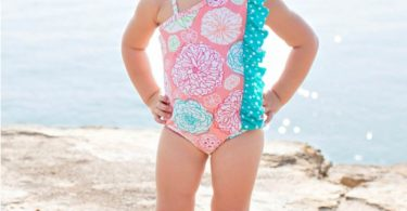 RuffleButts Little Girls Floral One-Shoulder Swimsuit w/Aqua Polka Dot Ruffle
