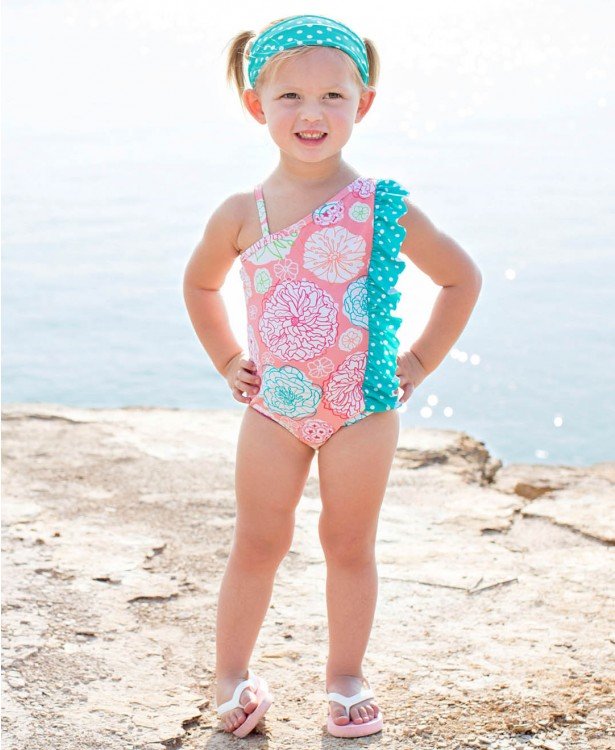 RuffleButts Little Girls Floral One-Shoulder Swimsuit w/Aqua Polka Dot Ruffle