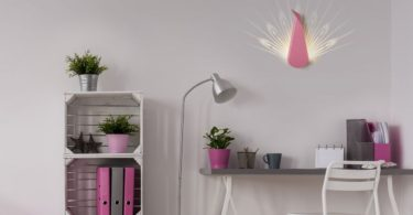 Pink Aluminium Peacock LED Light Fixture