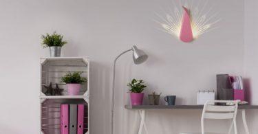 Pink Aluminium Peacock LED Light Fixture
