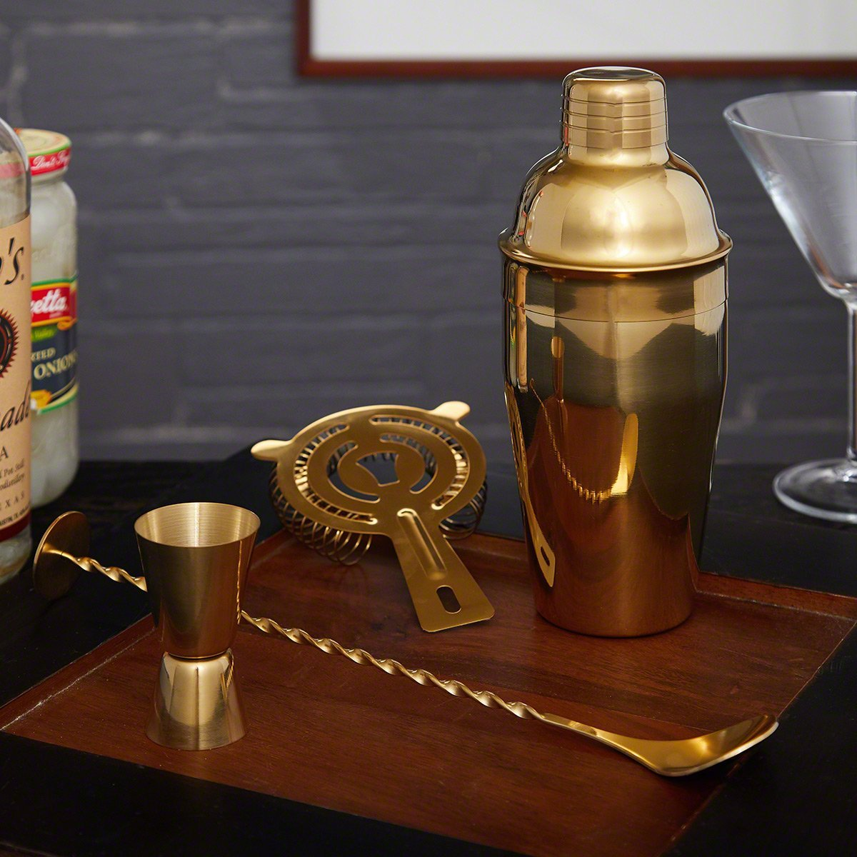 Ridgemont Gold Bar Tool Set and Cocktail Shaker