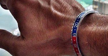Bicolor Stripe Classic Steel Bracelet