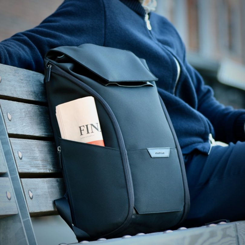 The Capstone Backpack in Black by Stuart & Lau
