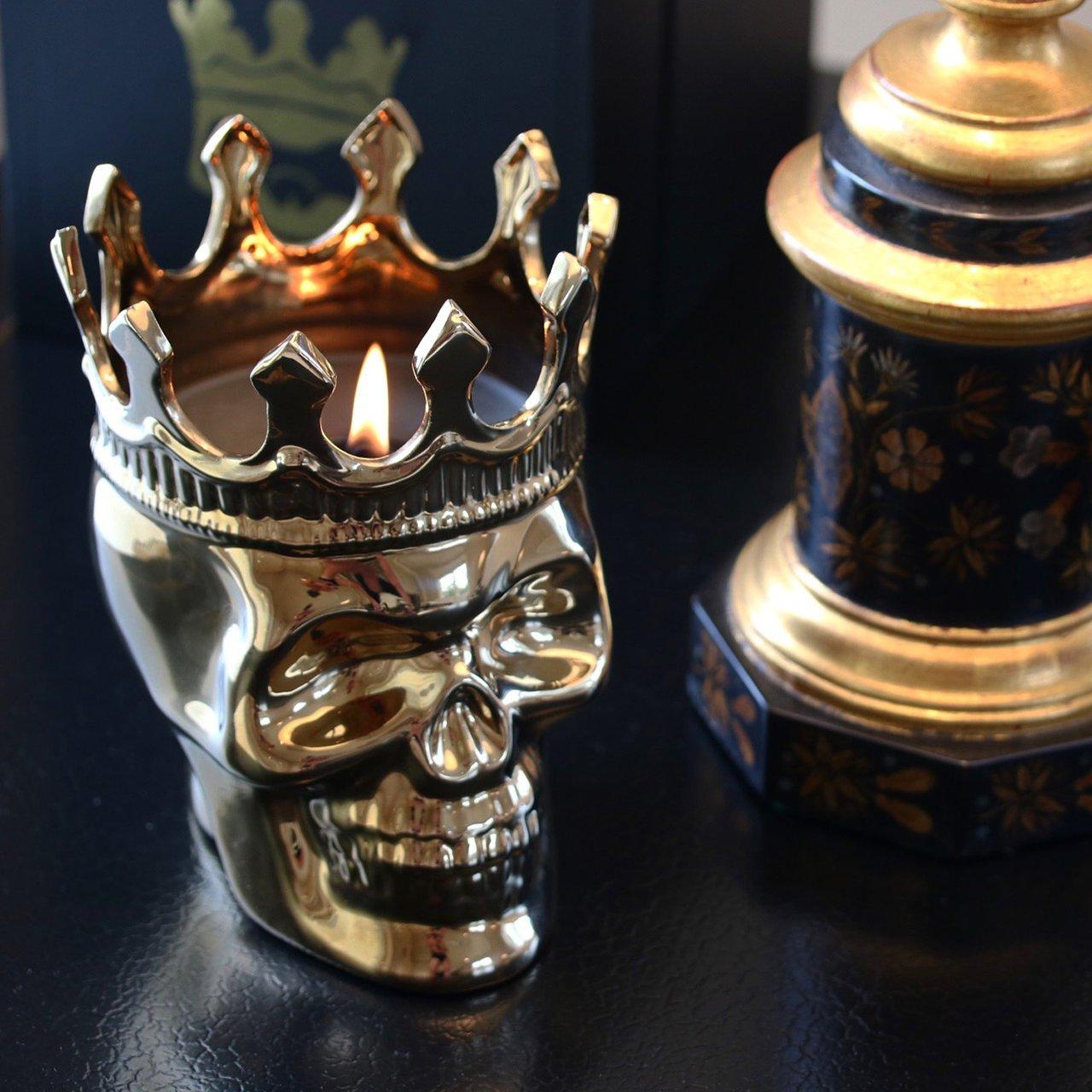 Gold Monte-Cristo Wood Charnel Bonaparte Skull Candle