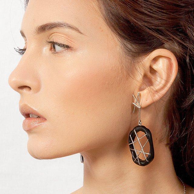 Ebony Earrings with Silver Webbing