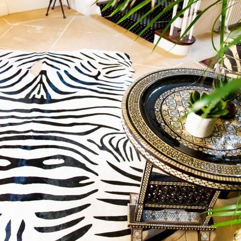 Zebra Print Natural Cowhide Rug