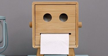 HEYFAIR Bamboo Cute Robot Tissue Box Holder Decorative Paper Cover Case Napkin Holder Facial Tissue Dispenser Box Cover