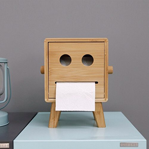 HEYFAIR Bamboo Cute Robot Tissue Box Holder Decorative Paper Cover Case Napkin Holder Facial Tissue Dispenser Box Cover
