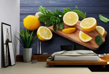 Lemon and Mint Leaves Served on Wooden Kitchen Board on Black Rustic Table – Removable Wall Mural