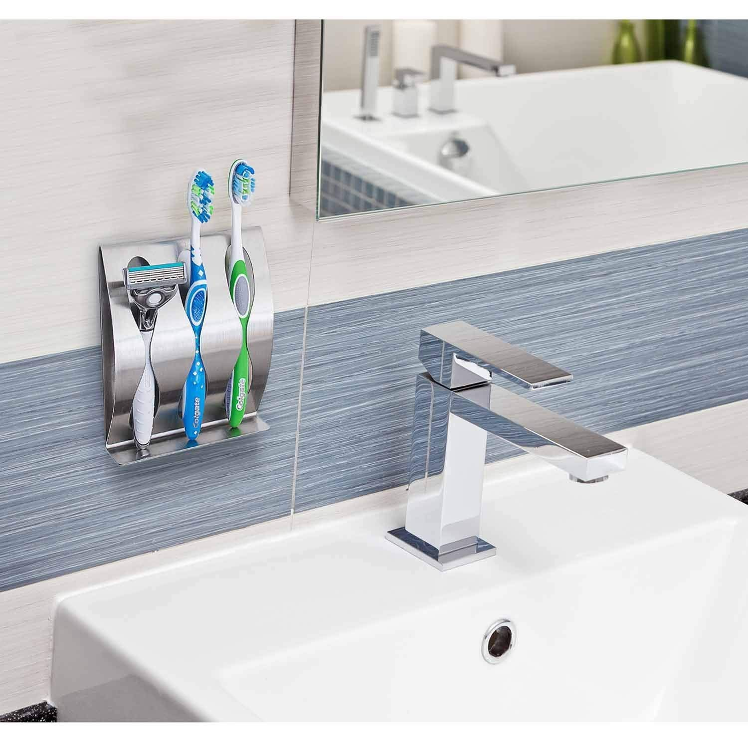 WARMTHOU Toothbrush Holder Wall Mounted, Polished Stainless Razor Holder Self-Adhesive Organizer with 3 Holes for Home Storage/Bathroom/Lavatory