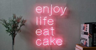 Enjoy Life Eat Cake Real Glass Neon Sign
