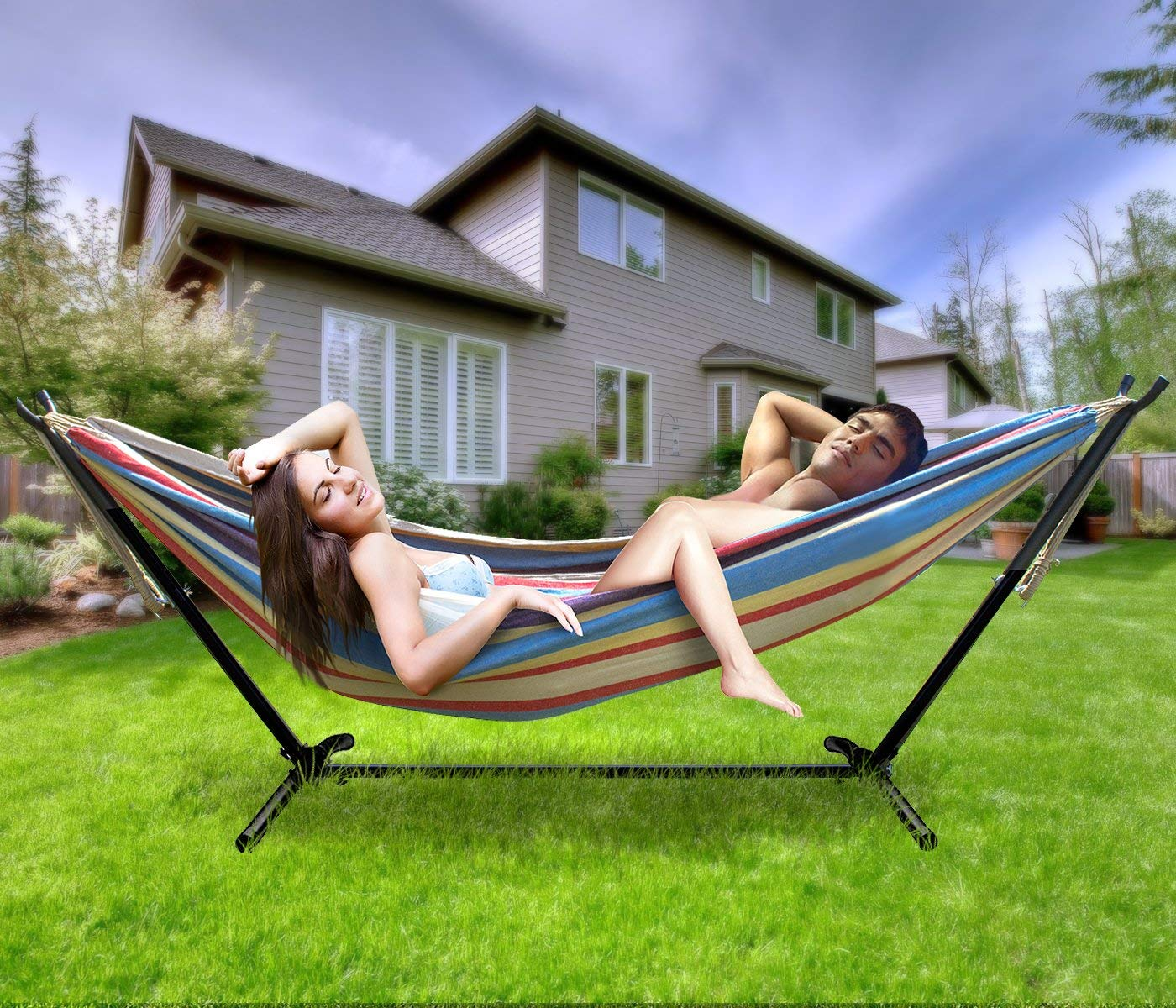 Sorbus Double Hammock with Steel Stand Two Person Adjustable Hammock Bed – Storage Carrying Case Included