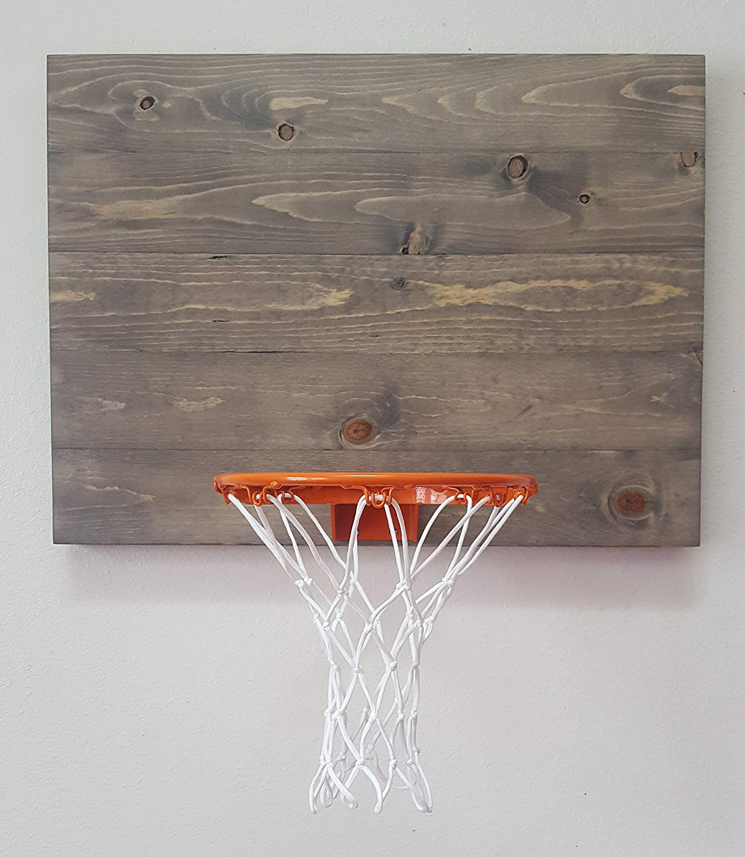 Weathered Grey Wood Basketball Hoop With Orange Rim