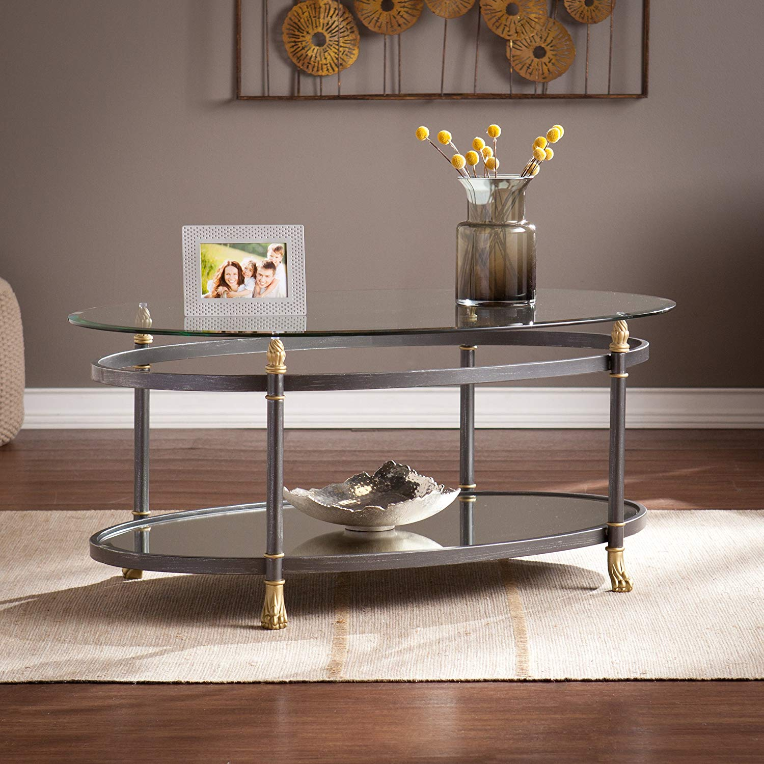 Southern Enterprises Allesandro Oval Cocktail Table Dark