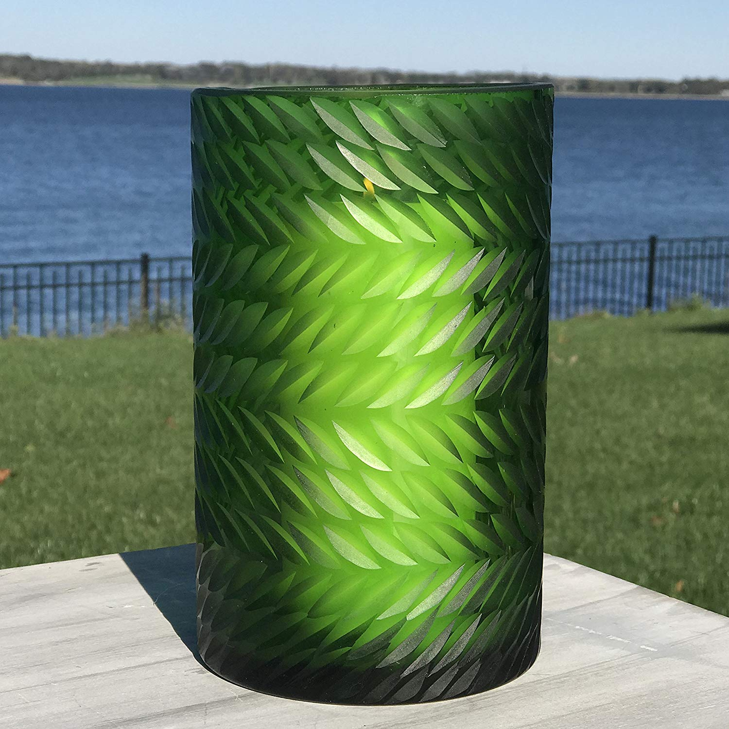 The Naturally Modern Flower Petal Hurricane Candle Holder or Vase, Art Glass, Green, Translucent, Incised Textured Glass, Herringbone Pattern, 8 H Inches Tall, By Whole House Worlds