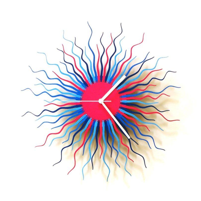 Medusa Blue / Pink – 16″ / 23.5″ / 39″ Organic Wooden Wall Clock