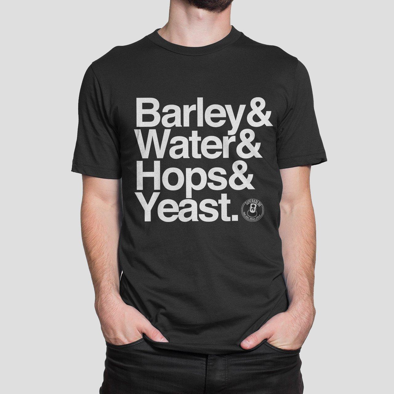 Barley Water Hops Yeast Tee by SUPERKOLDIE