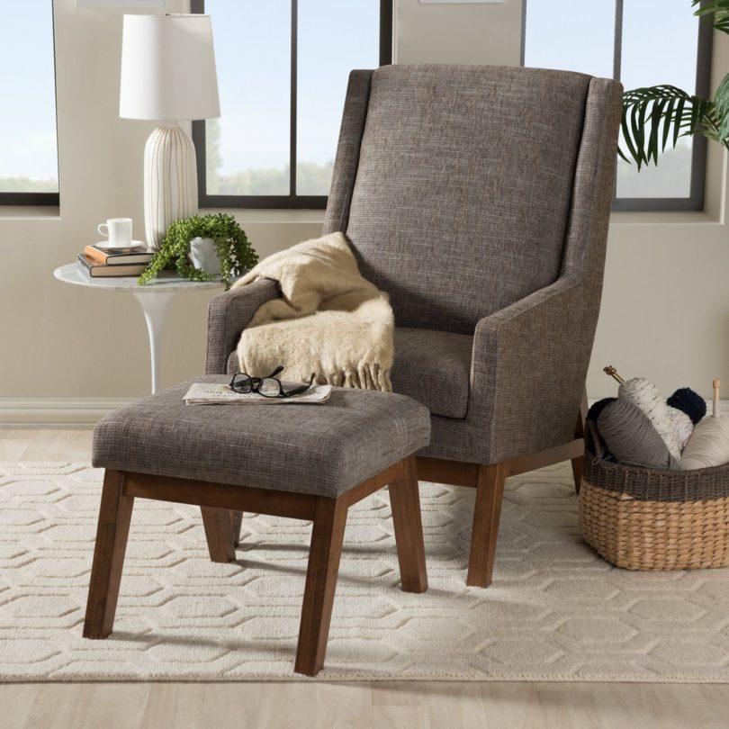 Aberdeen Mid-Century Modern Lounge Chair and Ottoman Set