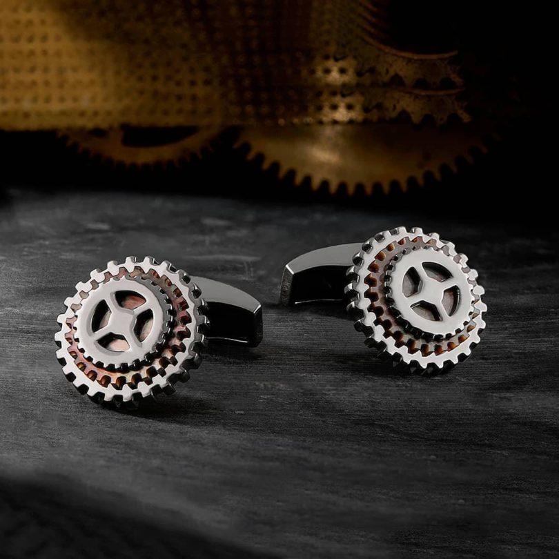 Rotating Precious Gear Silver Cufflinks in Black Rhodium & Black MOP
