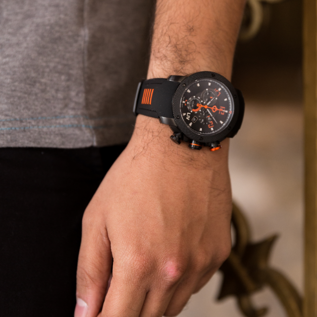 LIV GX1 Swiss Chronograph Black & Orange Numbers
