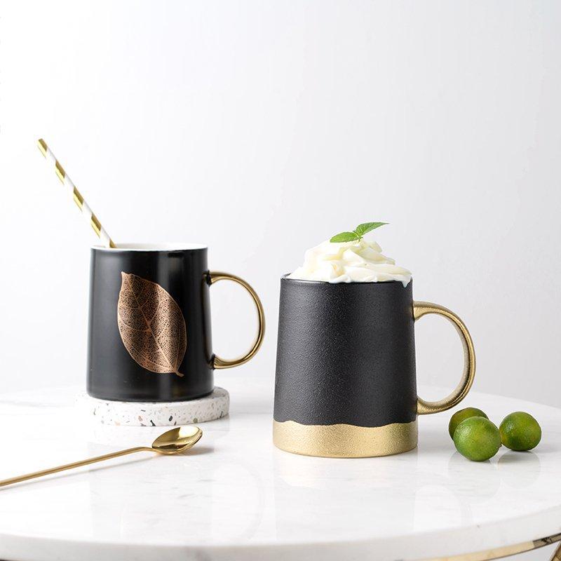 Gold & Matte Black Ceramic Mug