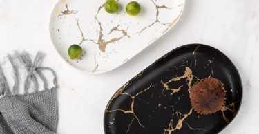 Ceramic Marble Grain Oval Plate