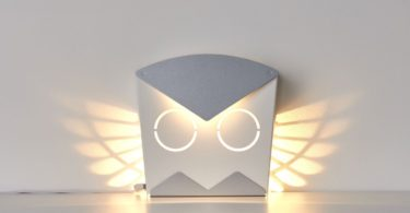 Silver LED Aluminum Owl Light Fixture