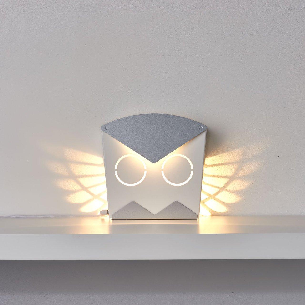 Silver LED Aluminum Owl Light Fixture