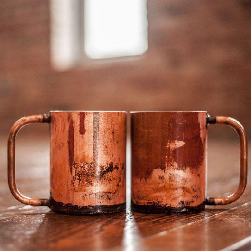The Rambler Distressed Copper Mug Set