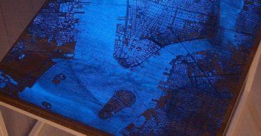 Glowing Map Wood Coffee Table