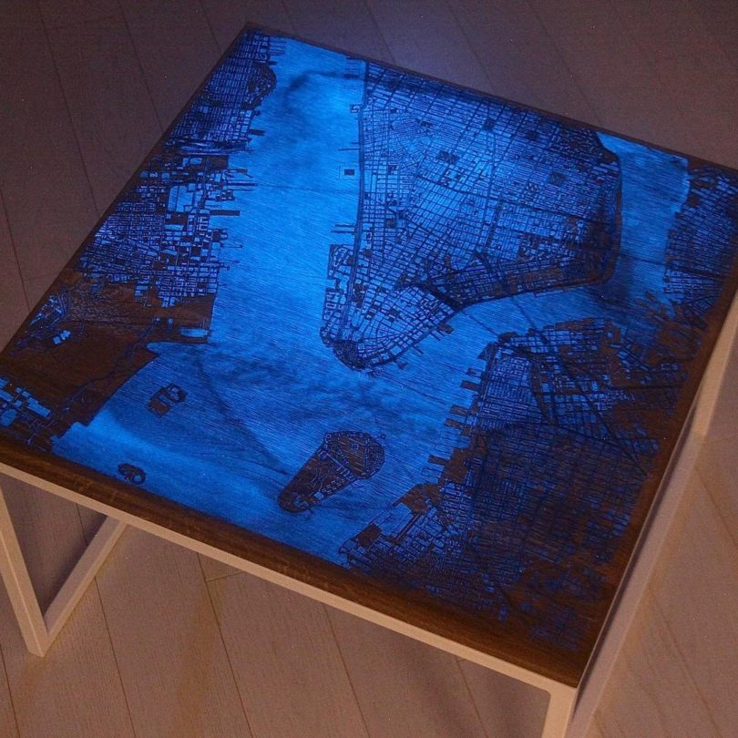 Glowing Map Wood Coffee Table