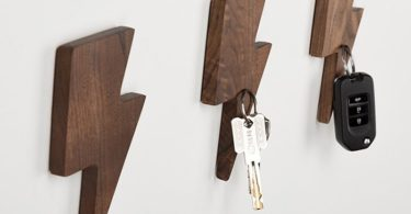 Lightning Magnetic Wooden Key Holder