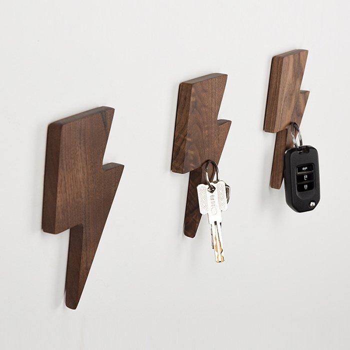 Lightning Magnetic Wooden Key Holder